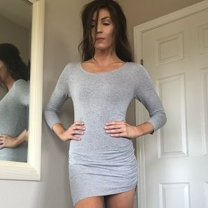 Grey, jersey, body on, rouched dress